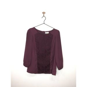 Anthro Lucy & Laurel Purple 3/4 Sleeve Lace Blouse
